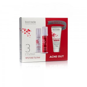 Комплект анти-акне с активен лосион, хидроактив крем за лице и подарък Acne Out Biotrade